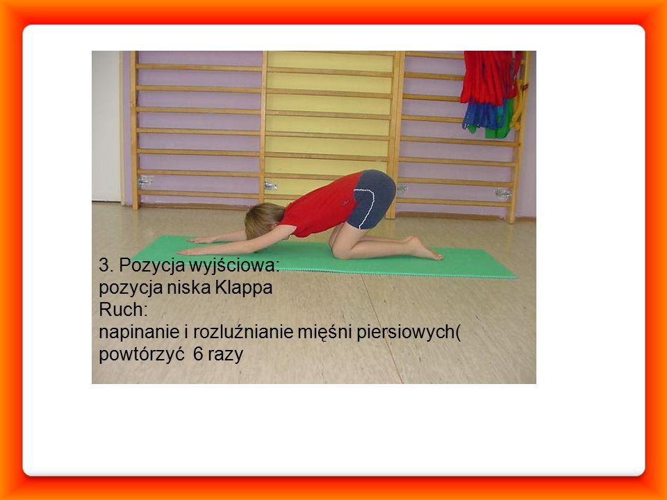 31 marca 2015 1. Pozycja wyjściowa: leżenie tyłem, ręce wyprostowane przy głowie, kolana przyciągnięte do klatki piersiowej, pod plecami (szczyt kifoz