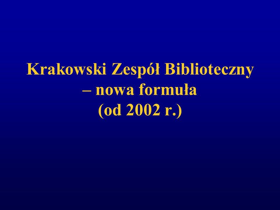 """Krakowski Zespół Biblioteczny (powołany w 1994 r.) """"Uczestnictwo w KZB zapewnia wszystkim członkom równe szanse automatyzacji własnej biblioteki w jednolitym w skali środowiska systemie VTLS"""