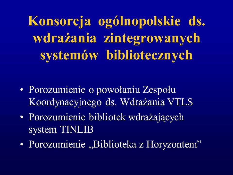 WSPÓLNE INICJATYWY DZISIAJ Konsorcja ogólnopolskie ds. wdrażania zintegrowanych systemów bibliotecznych Konsorcja lokalne ds. wdrażania zintegrowanych