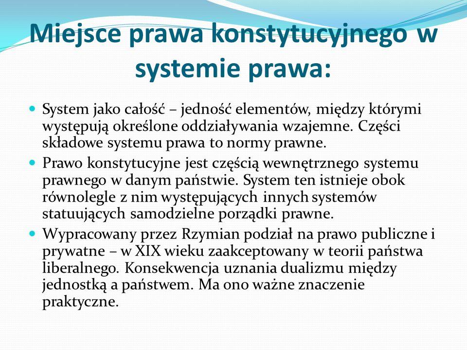 Miejsce prawa konstytucyjnego w systemie prawa: System jako całość – jedność elementów, między którymi występują określone oddziaływania wzajemne. Czę