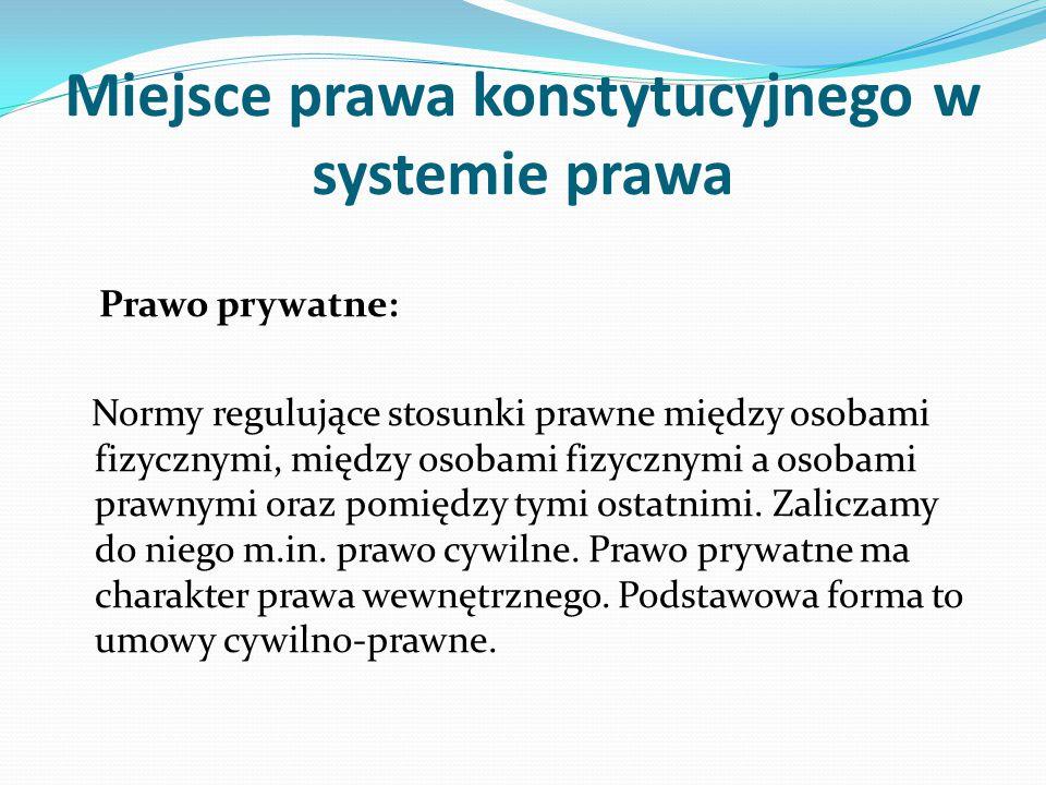 Miejsce prawa konstytucyjnego w systemie prawa Prawo prywatne: Normy regulujące stosunki prawne między osobami fizycznymi, między osobami fizycznymi a