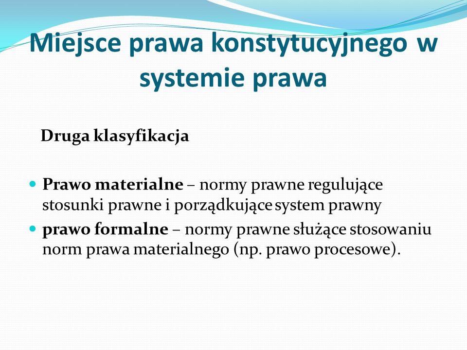 Miejsce prawa konstytucyjnego w systemie prawa Druga klasyfikacja Prawo materialne – normy prawne regulujące stosunki prawne i porządkujące system pra