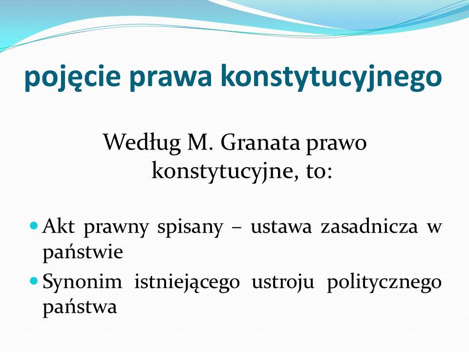 pojęcie prawa konstytucyjnego Według M. Granata prawo konstytucyjne, to: Akt prawny spisany – ustawa zasadnicza w państwie Synonim istniejącego ustroj