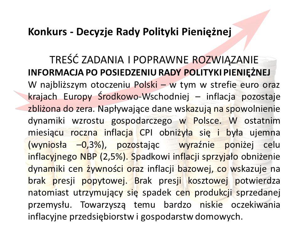 Konkurs obejmował Konkurs - Decyzje Rady Polityki Pieniężnej TREŚĆ ZADANIA I POPRAWNE ROZWIĄZANIE INFORMACJA PO POSIEDZENIU RADY POLITYKI PIENIĘŻNEJ W najbliższym otoczeniu Polski – w tym w strefie euro oraz krajach Europy Środkowo-Wschodniej – inflacja pozostaje zbliżona do zera.