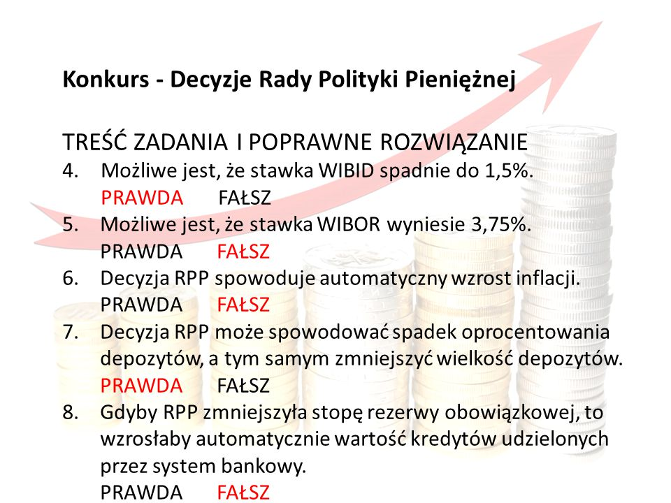 Konkurs obejmował Konkurs - Decyzje Rady Polityki Pieniężnej TREŚĆ ZADANIA I POPRAWNE ROZWIĄZANIE 4.