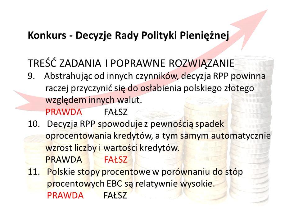 Konkurs obejmował Konkurs - Decyzje Rady Polityki Pieniężnej TREŚĆ ZADANIA I POPRAWNE ROZWIĄZANIE 9.