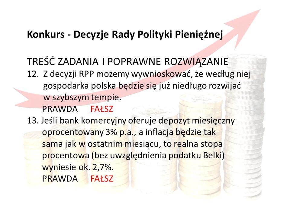 Konkurs obejmował Konkurs - Decyzje Rady Polityki Pieniężnej TREŚĆ ZADANIA I POPRAWNE ROZWIĄZANIE 12.Z decyzji RPP możemy wywnioskować, że według niej gospodarka polska będzie się już niedługo rozwijać w szybszym tempie.