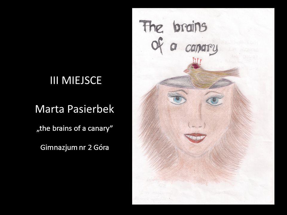 """III MIEJSCE Marta Pasierbek """"the brains of a canary"""" Gimnazjum nr 2 Góra"""