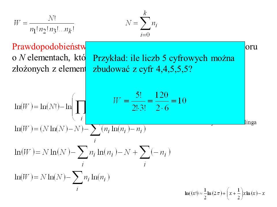 Prawdopodobieństwo termodynamiczne - liczba permutacji zbioru o N elementach, który podzielono na k podzbiorów n 1, n 2,..., n k złożonych z elementów nierozróżnialnych Przybliżenie Stirlinga Przykład: ile liczb 5 cyfrowych można zbudować z cyfr 4,4,5,5,5?