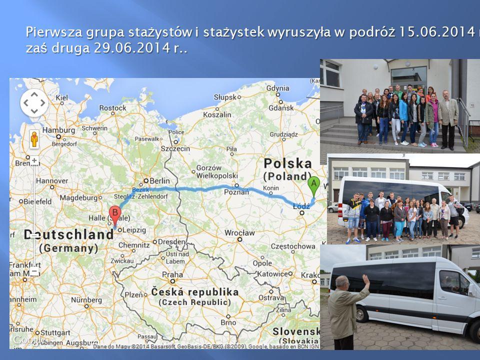 Pierwsza grupa sta ż ystów i sta ż ystek wyruszy ł a w podró ż 15.06.2014 r., za ś druga 29.06.2014 r..