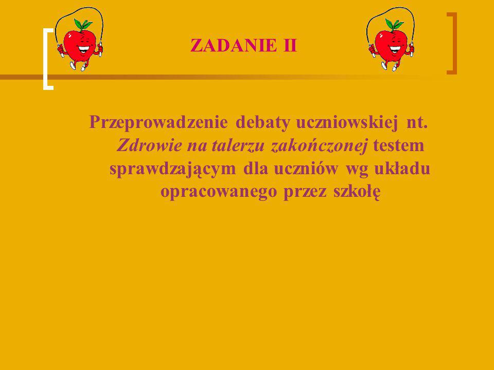 Przeprowadzenie debaty uczniowskiej nt. Zdrowie na talerzu zakończonej testem sprawdzającym dla uczniów wg układu opracowanego przez szkołę ZADANIE II