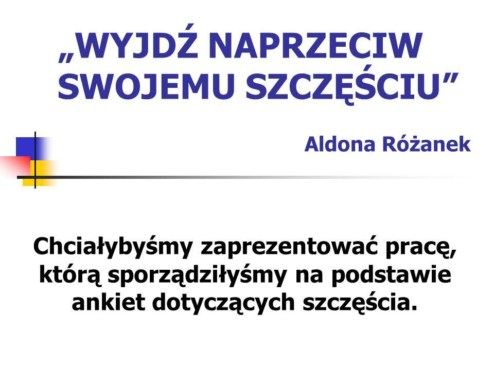 """""""WYJDŹ NAPRZECIW SWOJEMU SZCZĘŚCIU"""" Aldona Różanek Chciałybyśmy zaprezentować pracę, którą sporządziłyśmy na podstawie ankiet dotyczących szczęścia."""