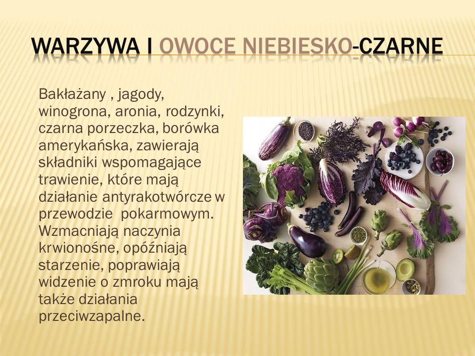 Bakłażany, jagody, winogrona, aronia, rodzynki, czarna porzeczka, borówka amerykańska, zawierają składniki wspomagające trawienie, które mają działani