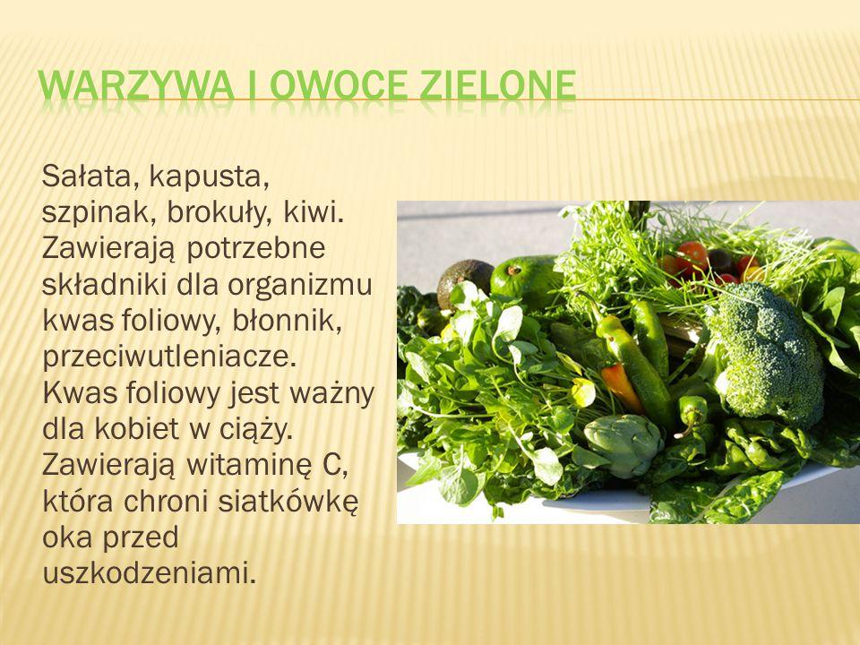 Sałata, kapusta, szpinak, brokuły, kiwi. Zawierają potrzebne składniki dla organizmu kwas foliowy, błonnik, przeciwutleniacze. Kwas foliowy jest ważny