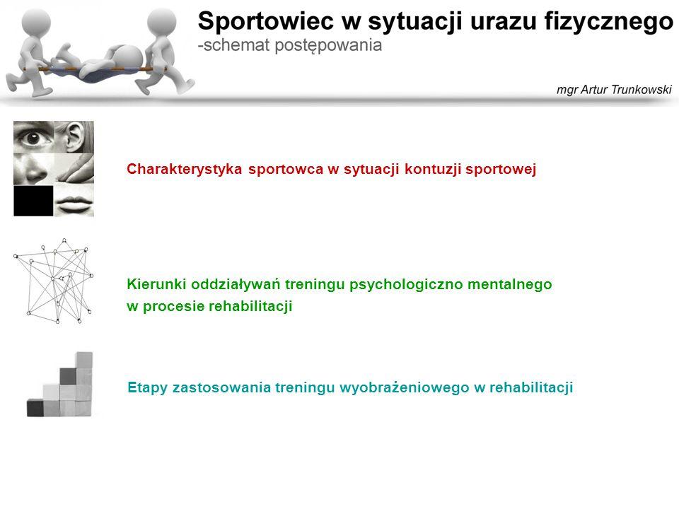 Kierunki oddziaływań treningu psychologiczno mentalnego: -Motywacja -Koncentracja -Kontrola emocji -Umiejętność komunikowania się -Kontrola procesów myślowych -Kształtowanie pewności siebie -Relaksacja -Trening wyobrażeniowy Charakterystyka sportowca w sytuacji kontuzji sportowej: -Czynniki destabilizujące sytuację sportowca po urazie -Konsekwencje zdrowotne nowej sytuacji życiowej -Zmienne środowiskowe mające wpływ na zawodnika -Możliwe reakcje sportowca na uraz -Preferowana reakcja sportowca na nową sytuację Etapy zastosowania treningu wyobrażeniowego w rehabilitacji: -Po odniesieniu urazu -W rozpoczęciu rehabilitacji -W trakcie rehabilitacji -W końcowej fazie rehabilitacji -W powrocie do treningu sportowego