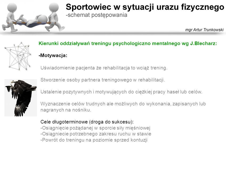 Kierunki oddziaływań treningu psychologiczno mentalnego wg J.Blecharz: -Motywacja Cele krótkoterminowe (codzienne): -Zwiększenie zakresu ruchu -Zwiększenie liczby powtórzeń -Uzyskanie pożądanego rozciągnięcia tkanek etc.