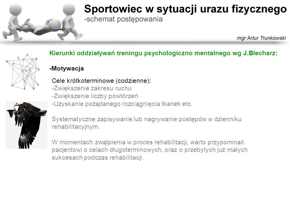 Kierunki oddziaływań treningu psychologiczno mentalnego wg J.Blecharz: -Motywacja Cele krótkoterminowe (codzienne): -Zwiększenie zakresu ruchu -Zwięks