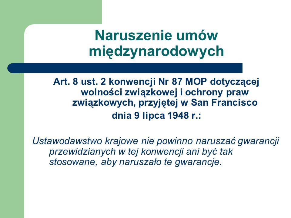 Naruszenie umów międzynarodowych Art.8 ust.