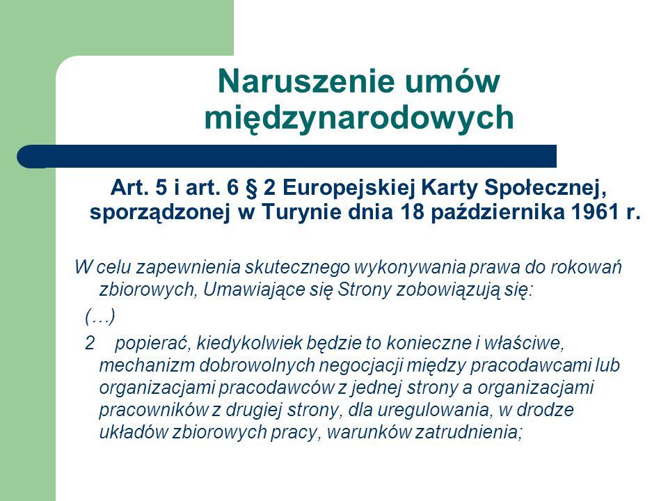 Naruszenie umów międzynarodowych Art.5 i art.
