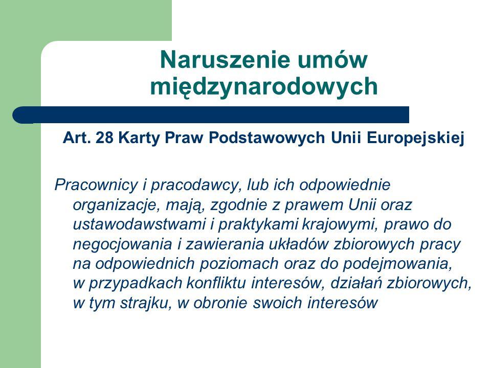 Naruszenie umów międzynarodowych Art.