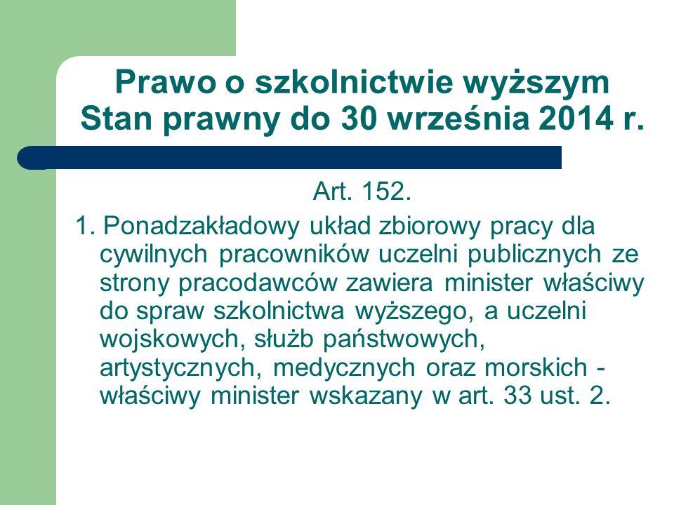 Prawo o szkolnictwie wyższym Stan prawny do 30 września 2014 r.