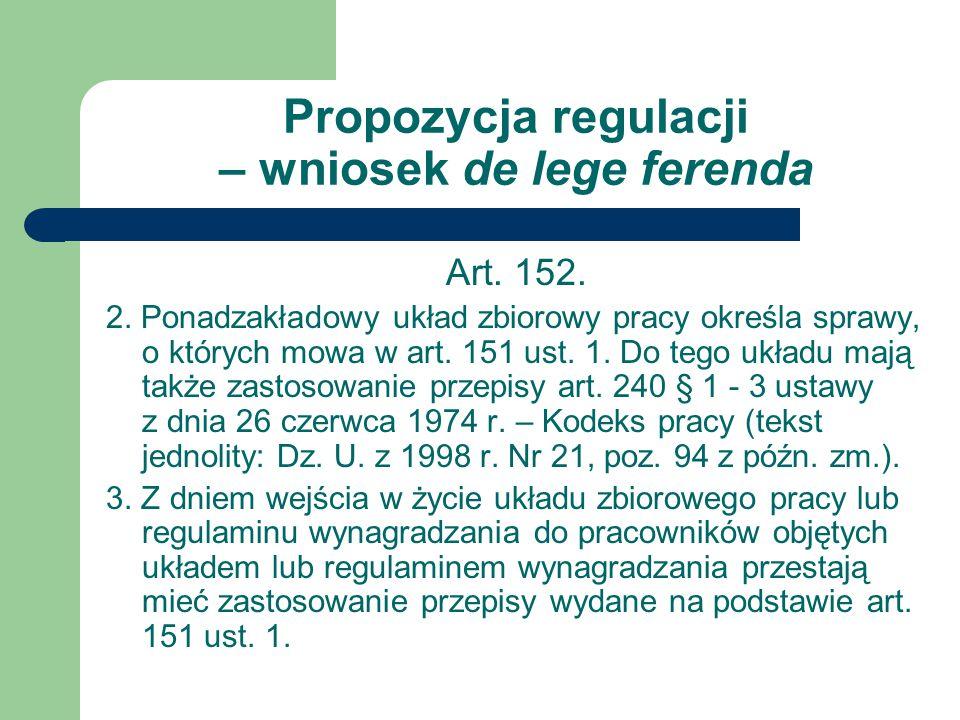 Propozycja regulacji – wniosek de lege ferenda Art.