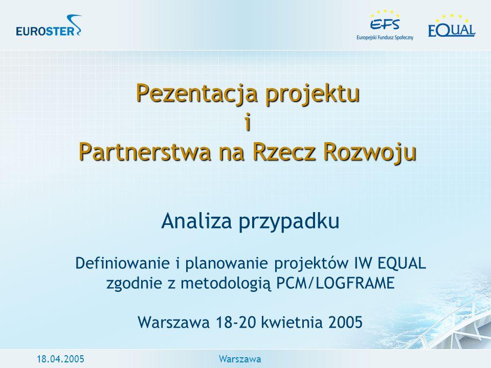 18.04.2005Warszawa Pezentacja projektu i Partnerstwa na Rzecz Rozwoju Analiza przypadku Definiowanie i planowanie projektów IW EQUAL zgodnie z metodol