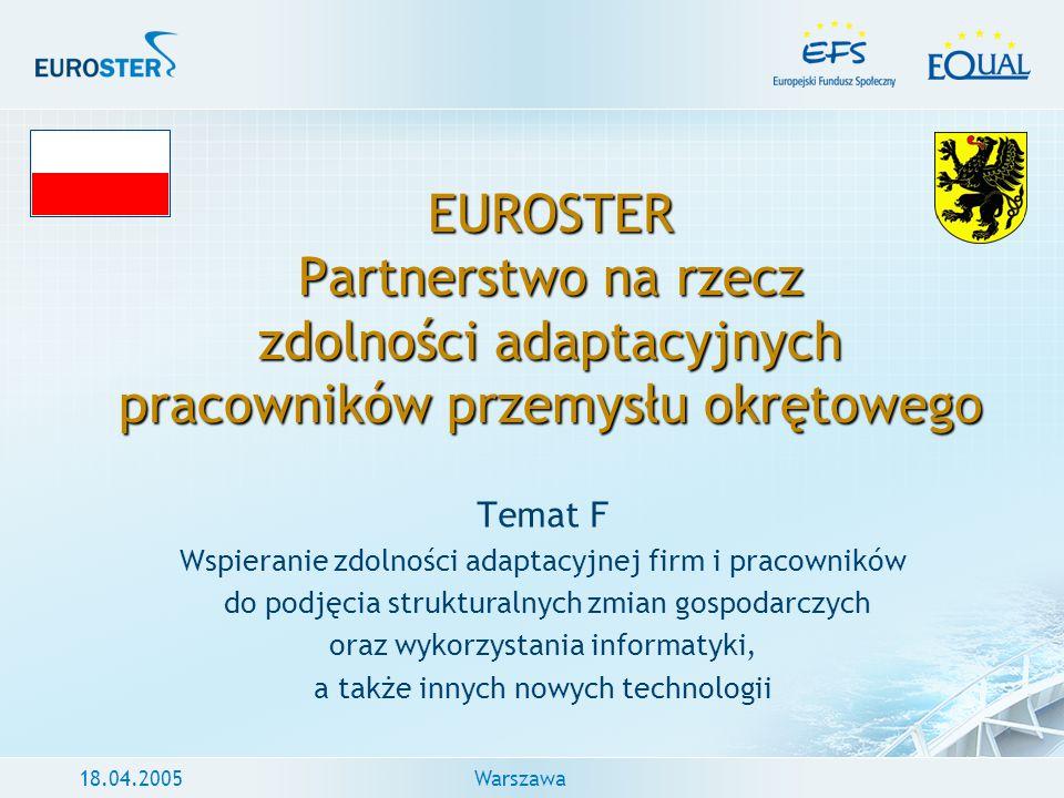 18.04.2005Warszawa EUROSTER Partnerstwo na rzecz zdolności adaptacyjnych pracowników przemysłu okrętowego Temat F Wspieranie zdolności adaptacyjnej fi