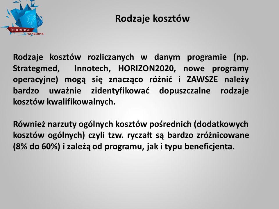 Rodzaje kosztów Rodzaje kosztów rozliczanych w danym programie (np. Strategmed, Innotech, HORIZON2020, nowe programy operacyjne) mogą się znacząco róż