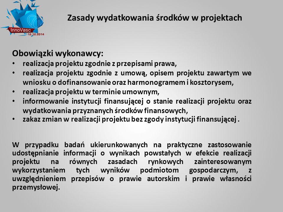 Zasady wydatkowania środków w projektach Obowiązki wykonawcy: realizacja projektu zgodnie z przepisami prawa, realizacja projektu zgodnie z umową, opi