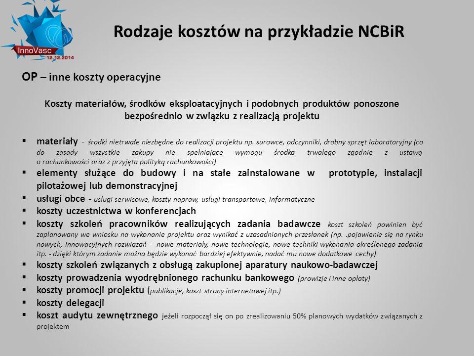 Rodzaje kosztów na przykładzie NCBiR OP – inne koszty operacyjne Koszty materiałów, środków eksploatacyjnych i podobnych produktów ponoszone bezpośred