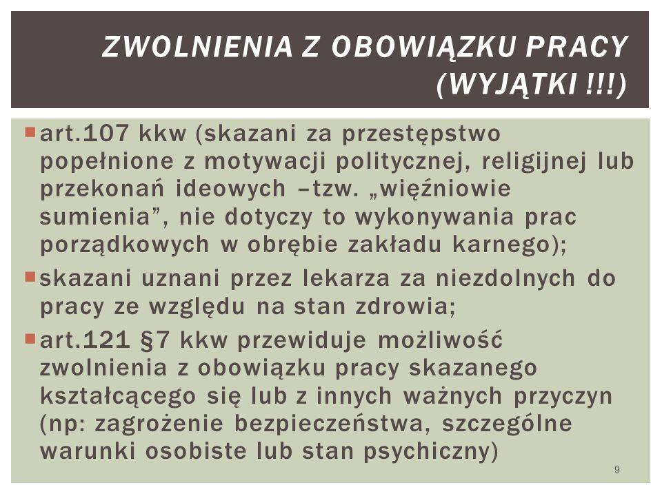 """ art.107 kkw (skazani za przestępstwo popełnione z motywacji politycznej, religijnej lub przekonań ideowych –tzw. """"więźniowie sumienia"""", nie dotyczy"""