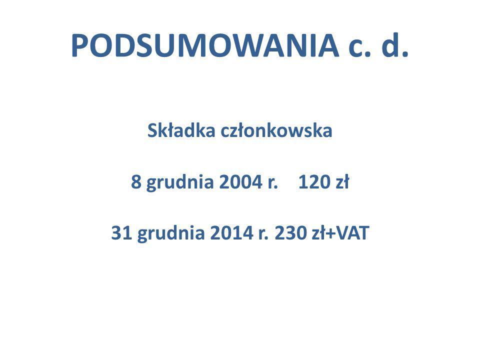 PODSUMOWANIA c. d. Składka członkowska 8 grudnia 2004 r. 120 zł 31 grudnia 2014 r. 230 zł+VAT