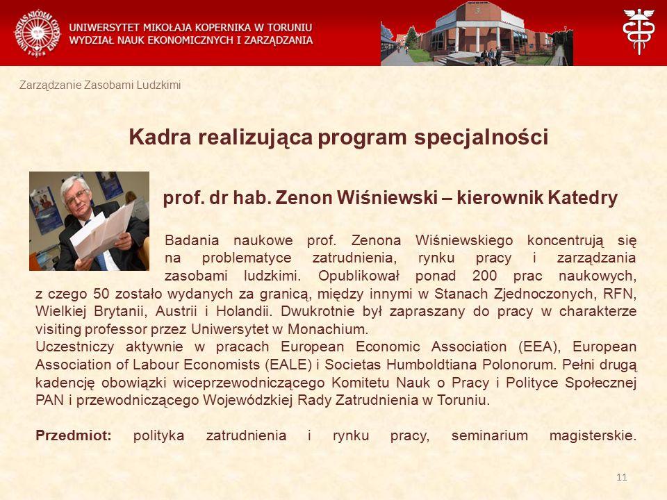 Zarządzanie Zasobami Ludzkimi Kadra realizująca program specjalności prof. dr hab. Zenon Wiśniewski – kierownik Katedry Badania naukowe prof. Zenona W