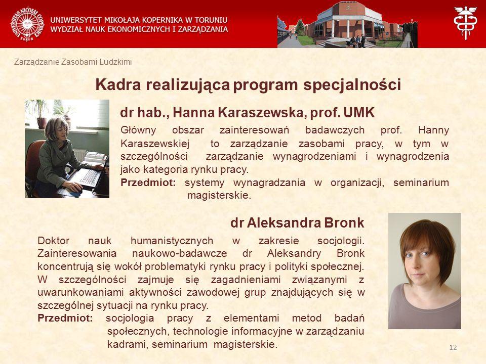 Zarządzanie Zasobami Ludzkimi Kadra realizująca program specjalności dr hab., Hanna Karaszewska, prof. UMK Główny obszar zainteresowań badawczych prof