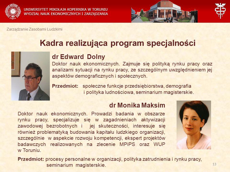 Zarządzanie Zasobami Ludzkimi Kadra realizująca program specjalności dr Edward Dolny Doktor nauk ekonomicznych. Zajmuje się polityką rynku pracy oraz