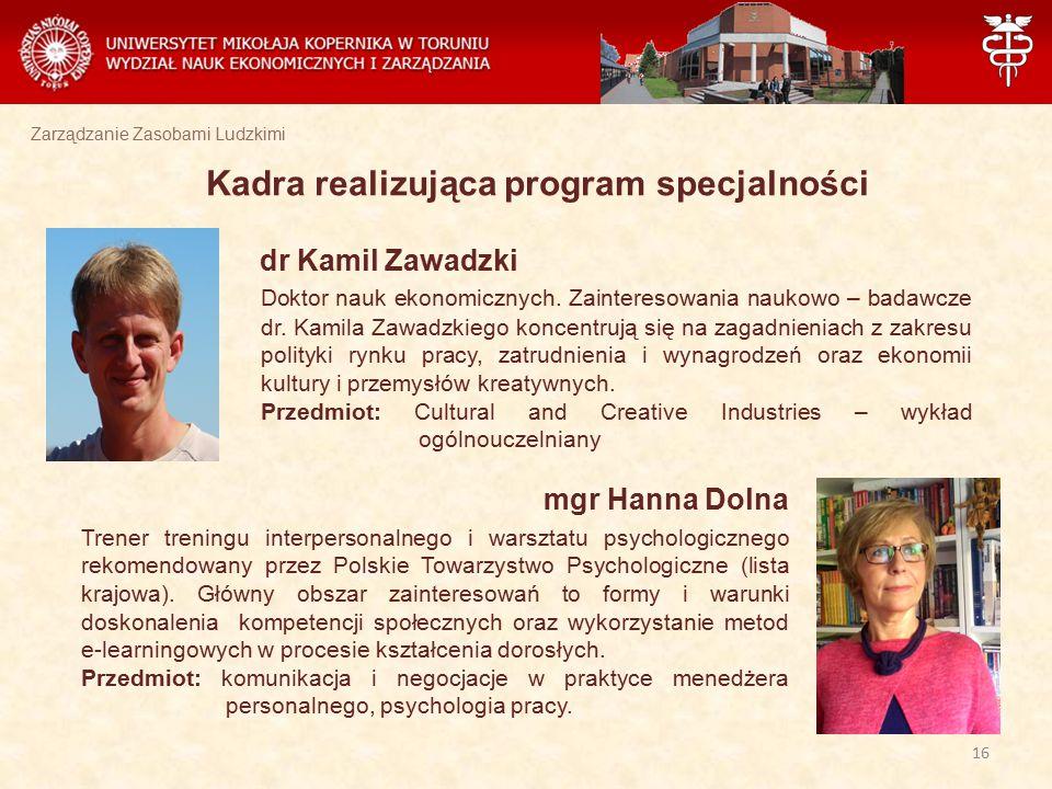 Zarządzanie Zasobami Ludzkimi Kadra realizująca program specjalności dr Kamil Zawadzki Doktor nauk ekonomicznych. Zainteresowania naukowo – badawcze d