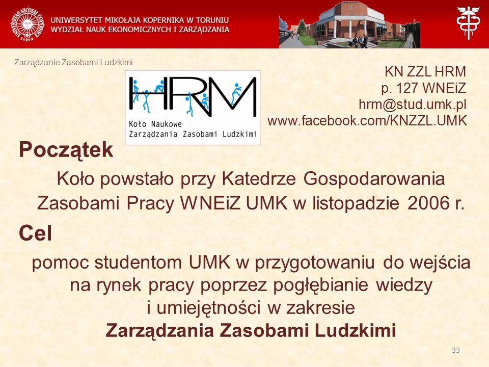 Zarządzanie Zasobami Ludzkimi KN ZZL HRM p. 127 WNEiZ hrm@stud.umk.pl www.facebook.com/KNZZL.UMK Początek Koło powstało przy Katedrze Gospodarowania Z