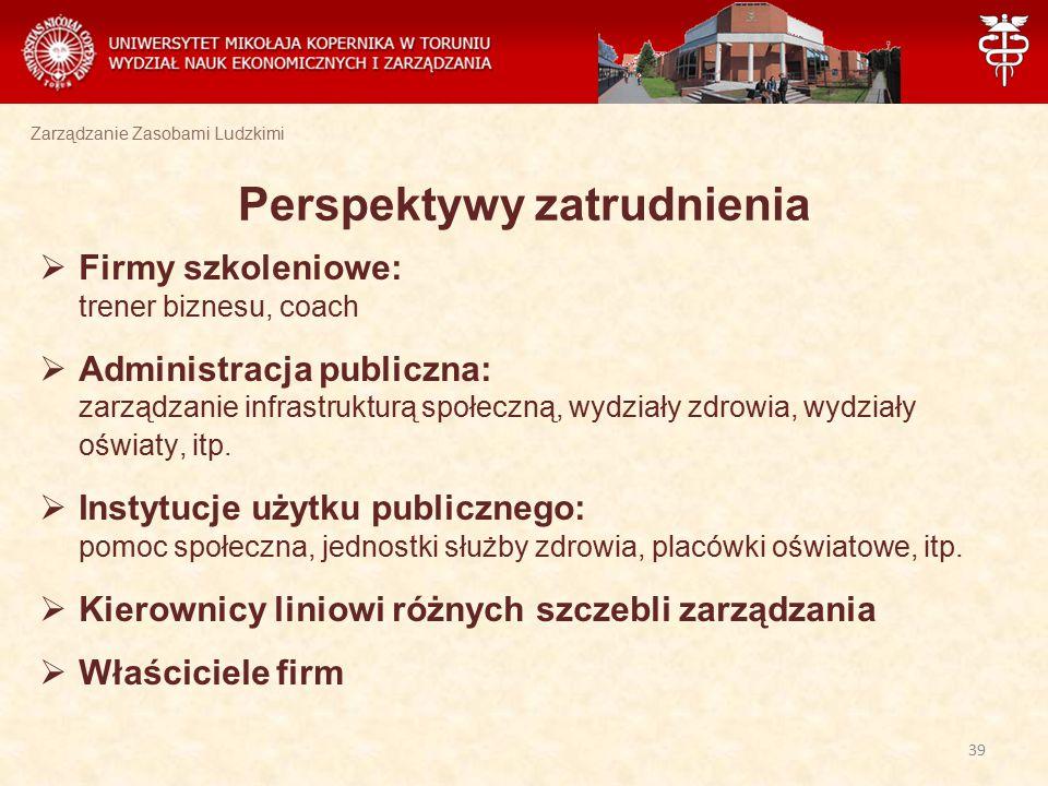 Zarządzanie Zasobami Ludzkimi Perspektywy zatrudnienia  Firmy szkoleniowe: trener biznesu, coach  Administracja publiczna: zarządzanie infrastruktur