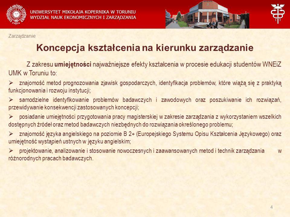 Zarządzanie Z zakresu umiejętności najważniejsze efekty kształcenia w procesie edukacji studentów WNEiZ UMK w Toruniu to :  znajomość metod prognozow