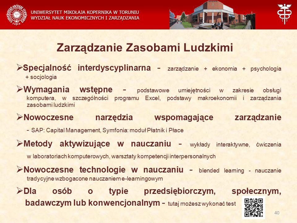Zarządzanie Zasobami Ludzkimi  Specjalność interdyscyplinarna - zarządzanie + ekonomia + psychologia + socjologia  Wymagania wstępne - podstawowe um