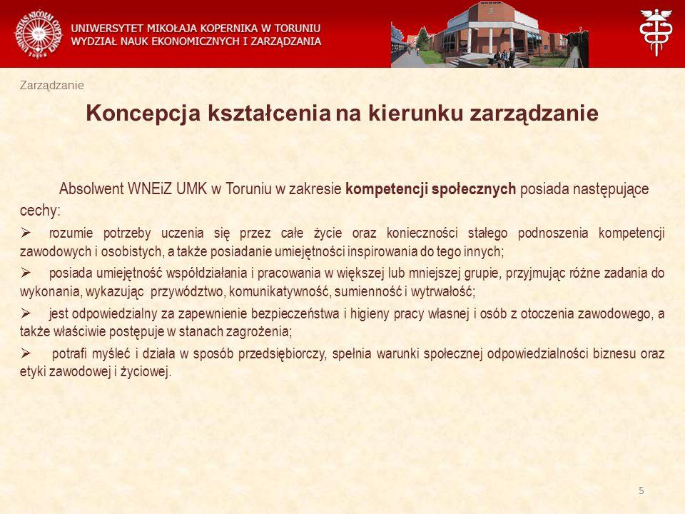 Zarządzanie Absolwent WNEiZ UMK w Toruniu w zakresie kompetencji społecznych posiada następujące cechy:  rozumie potrzeby uczenia się przez całe życi