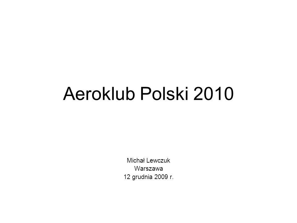 Aeroklub Polski 2010 Michał Lewczuk Warszawa 12 grudnia 2009 r.
