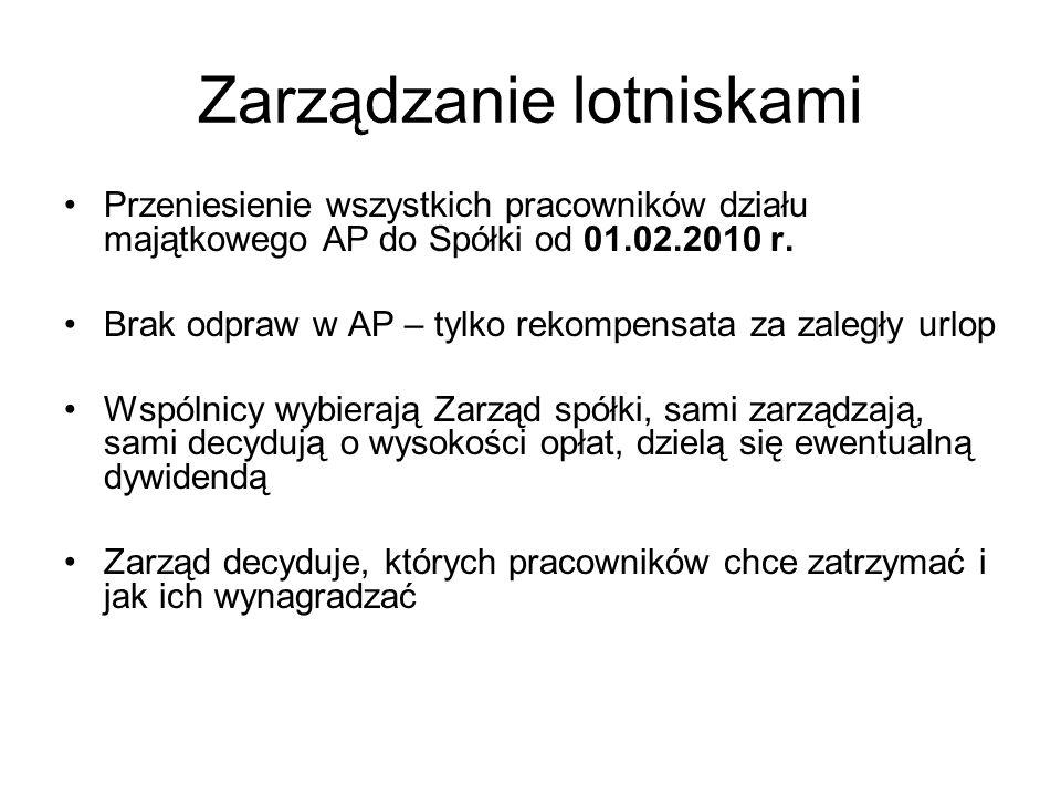 Zarządzanie lotniskami Przeniesienie wszystkich pracowników działu majątkowego AP do Spółki od 01.02.2010 r.