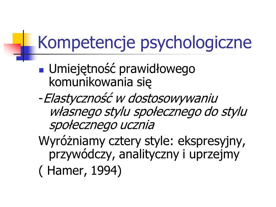Kompetencje psychologiczne Umiejętność prawidłowego komunikowania się -Elastyczność w dostosowywaniu własnego stylu społecznego do stylu społecznego u