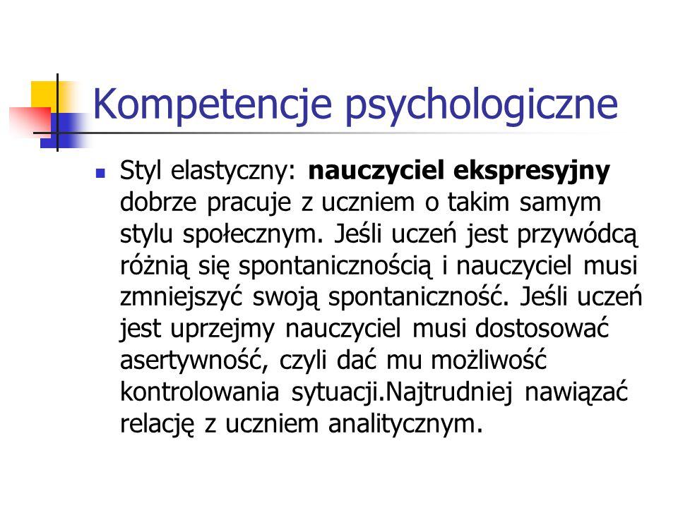 Kompetencje psychologiczne Styl elastyczny: nauczyciel ekspresyjny dobrze pracuje z uczniem o takim samym stylu społecznym. Jeśli uczeń jest przywódcą