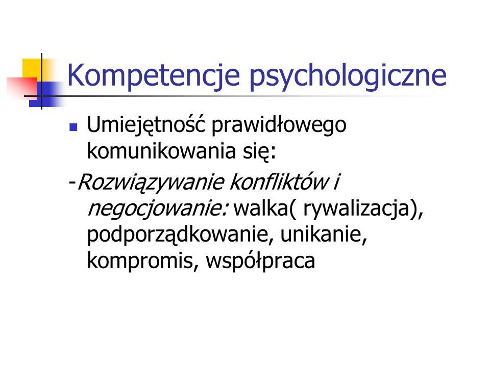 Kompetencje psychologiczne Umiejętność prawidłowego komunikowania się: -Rozwiązywanie konfliktów i negocjowanie: walka( rywalizacja), podporządkowanie
