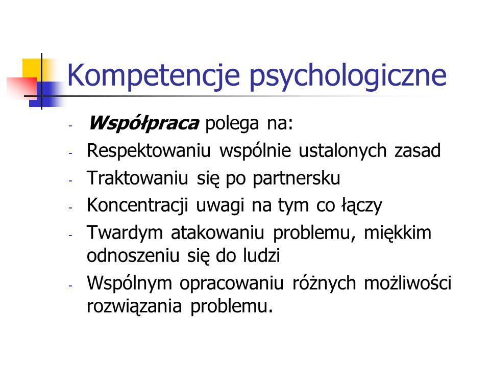 Kompetencje psychologiczne - Współpraca polega na: - Respektowaniu wspólnie ustalonych zasad - Traktowaniu się po partnersku - Koncentracji uwagi na t
