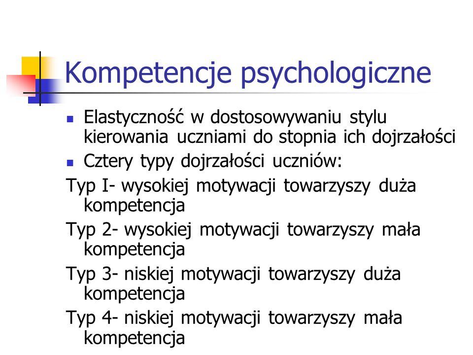 Kompetencje psychologiczne Elastyczność w dostosowywaniu stylu kierowania uczniami do stopnia ich dojrzałości Cztery typy dojrzałości uczniów: Typ I-