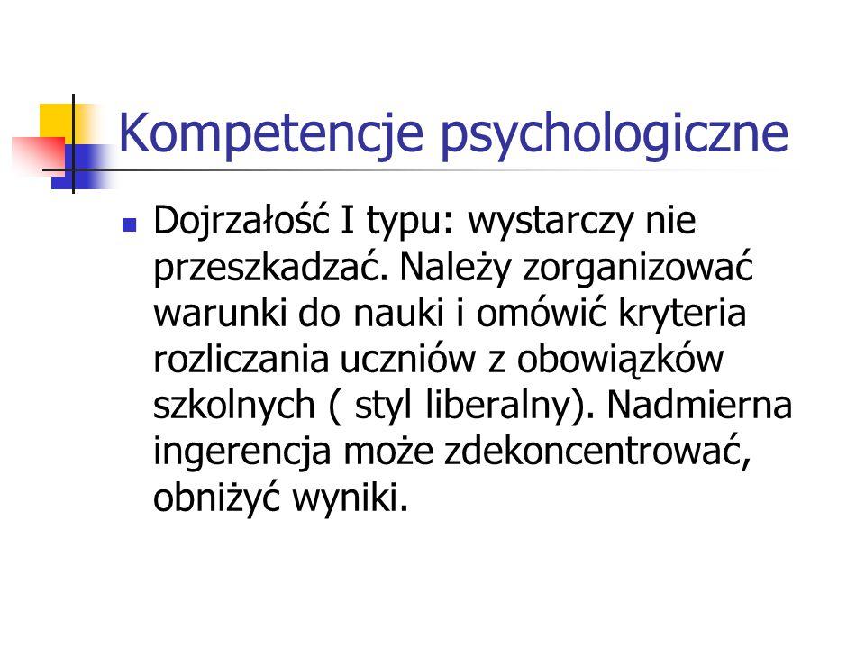 Kompetencje psychologiczne Dojrzałość I typu: wystarczy nie przeszkadzać. Należy zorganizować warunki do nauki i omówić kryteria rozliczania uczniów z